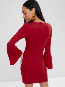 Rojo L Con Larga Campana De Vestido Largo Manga xHOwYq6T0