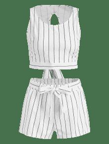 Anudadas Shorts Blanco De Rayas L Conjunto Con Y Top WOZTYn