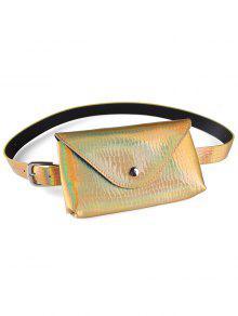 فاني حزمة الزخرفية فو جلدية نحيفة حزام حقيبة - ذهب