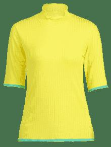 Contraste T shirt Amarillo Neck S Trim Mock rtwOr6