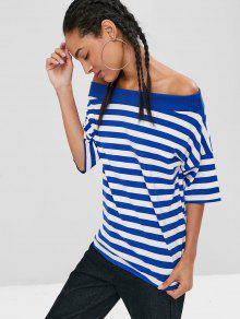 Rayas Acanalada De Camiseta Oc Azul Con Descubiertos Hombros UwO1dfqE1