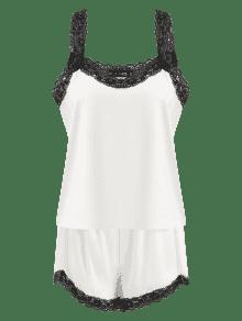 Pantalones De De Con M Conjunto Borde Blanco Cortos Encaje 4UqqTw