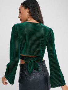 7fb35caae2e070 36% OFF  2019 Velvet Knot Long Sleeve Crop Top In DARK FOREST GREEN ...