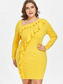Vestido Mini Con Volantes Y Tallas Grandes - Amarillo Brillante L
