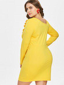 Y L Amarillo Con Volantes Tallas Grandes Brillante Vestido Mini tTZq8wnx4