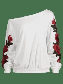 Con Florales De Oblicuo L Cuello Apliques Sudadera Blanco dqtXzwd