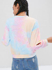 Dye Multicolor Tie Sweatshirt Cutout L 5TqHXw