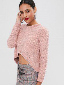 Knit Rosado High Chunky Sweater Low 4qwxAUO7