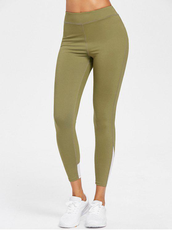 women Mesh Panel High Waisted Sports Leggings - AVOCADO GREEN L