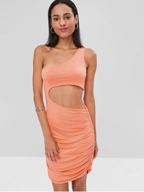 trendy Cut Out One Shoulder Bodycon Dress - LIGHT SALMON S
