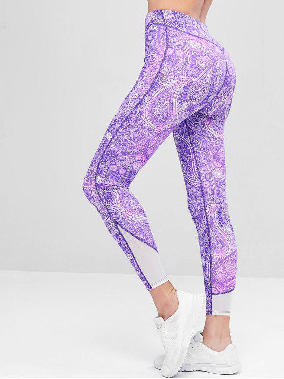 Sport Leggings Aus Netz Leggings - Lila Blume M