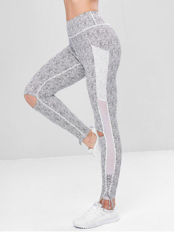 45baf0377e63b 25% OFF] 2019 Lace Up Leopard Sports Leggings In WHITE | ZAFUL