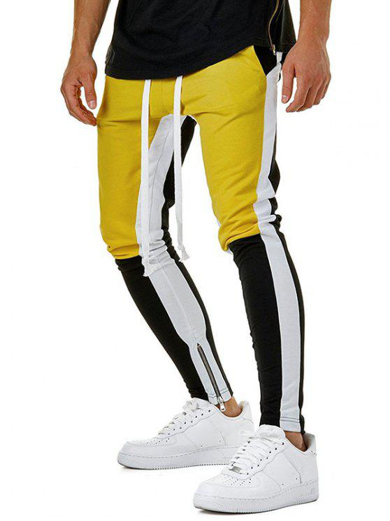 best Color Block Hem Zipper Track Pants - YELLOW M