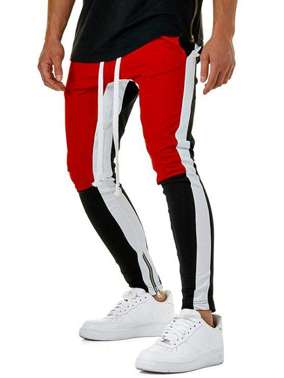 hot Color Block Hem Zipper Track Pants - RED S