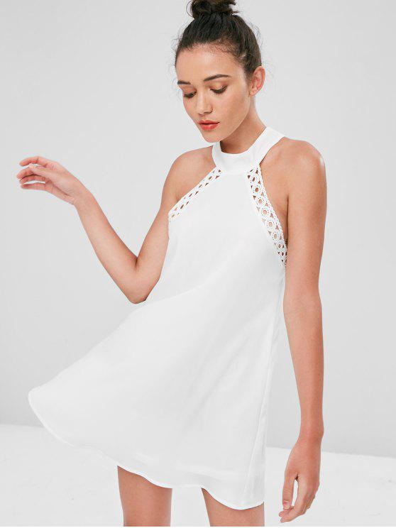 affordable Knotted Crochet Trim Mini Dress - WHITE M