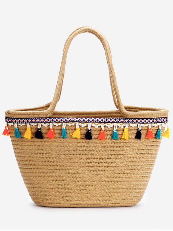 affordable Casual Vacation Bohemian Tassels Straw Tote Bag - DARK KHAKI