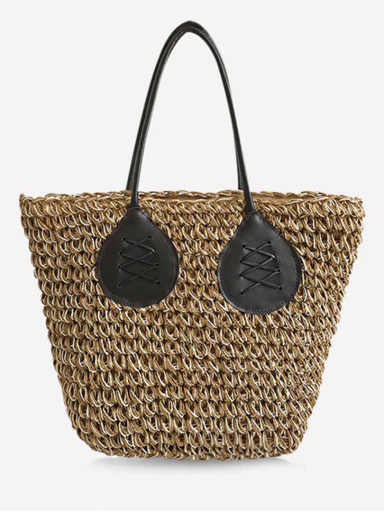 lady Contrasting Color Casual Holiday Straw Bohemian Tote Bag - LIGHT KHAKI