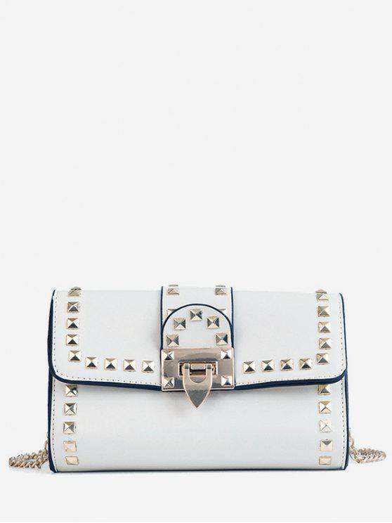 hot Studs Metallic Chain Chic Flap Crossbody Bag - WHITE
