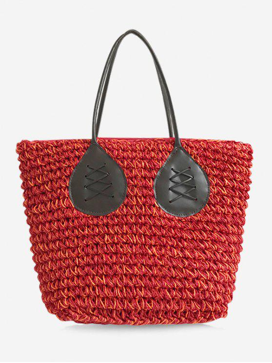 outfit Contrasting Color Casual Holiday Straw Bohemian Tote Bag - RED