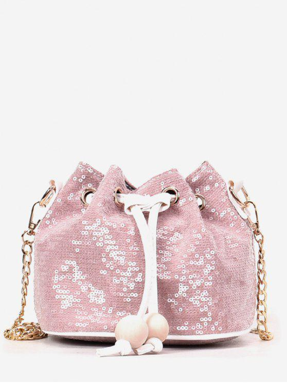 outfits Shining Sequins Chain Buckets Shaped String Crossbody Bag - PINK
