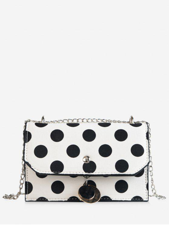 trendy Flapped Metallic Pendant Polka Dot Color Block Crossbody Bag - WHITE