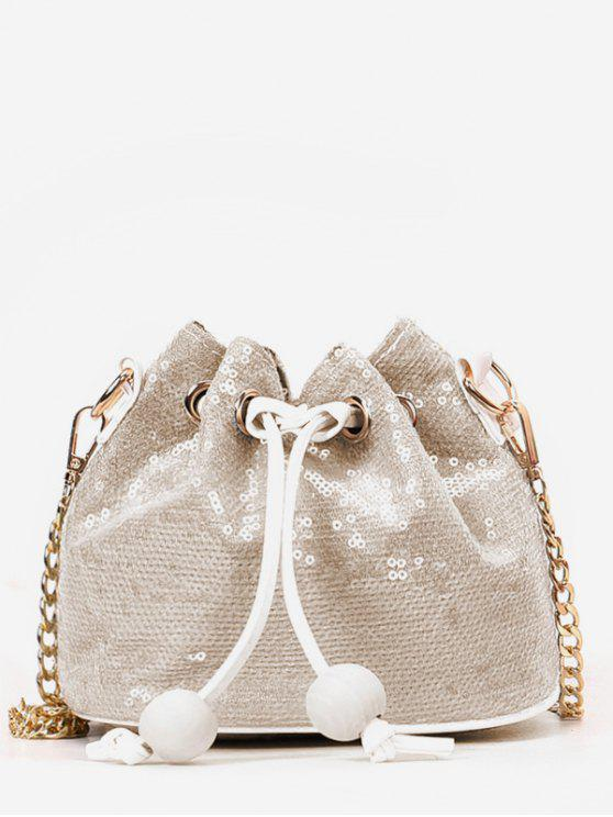fashion Shining Sequins Chain Buckets Shaped String Crossbody Bag - BEIGE