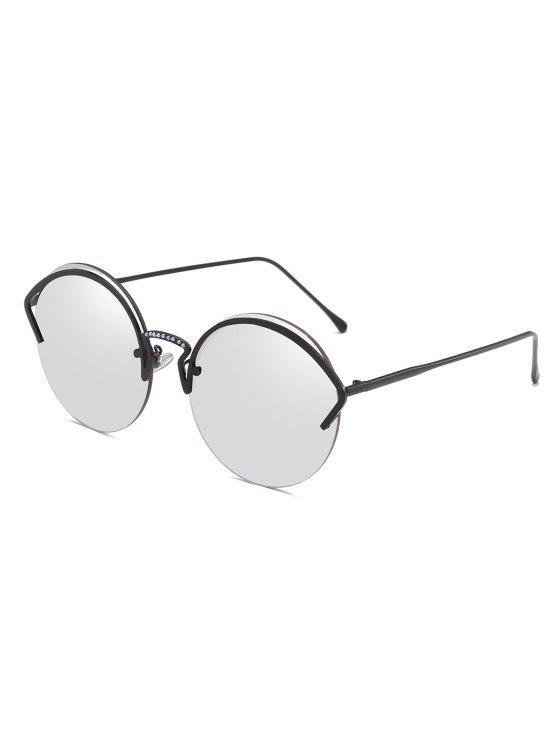 Gafas de sol semi sin montura de aleación de marco único - Platino