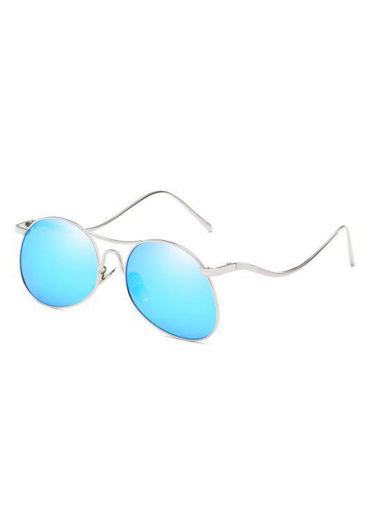 fancy Anti Fatigue Flat Lens Bent Legs Sunglasses - LIGHT SKY BLUE