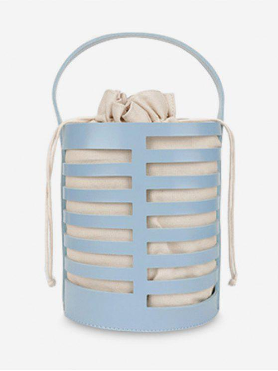 trendy Hollow Out Casual Bucket Handbag with Strap - BLUE