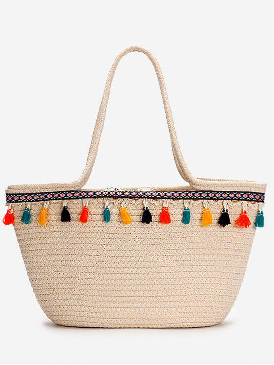 chic Casual Vacation Bohemian Tassels Straw Tote Bag - BEIGE