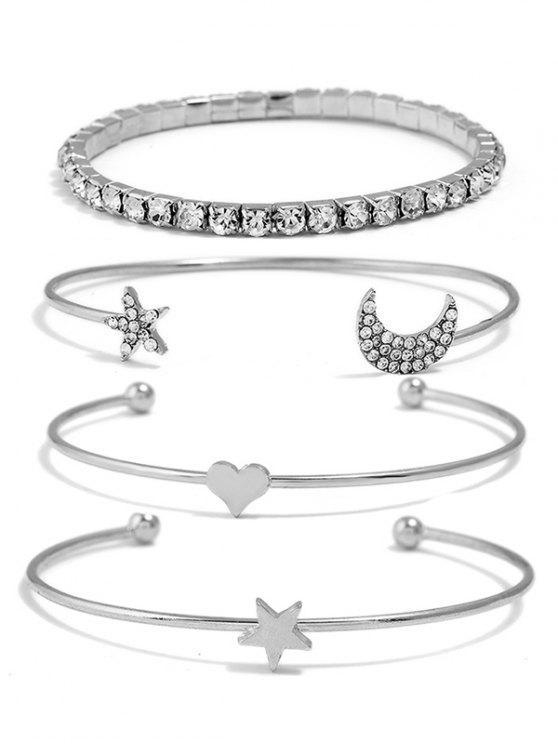 affordable Star Moon Heart Designed Rhinestone Bracelets Set - SILVER