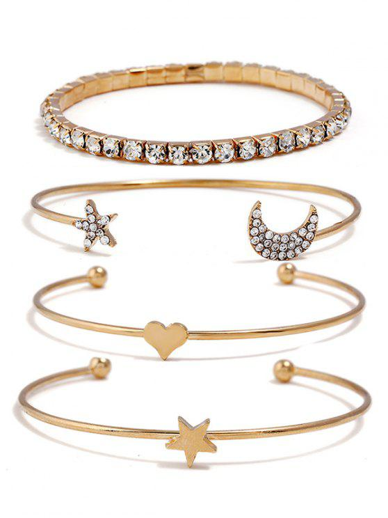 Ensemble de bracelets strass en forme de coeur de Star Moon - Or