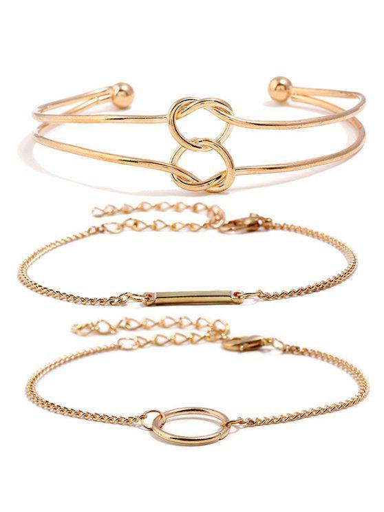 Ensemble de bracelets en alliage de coeur de noeud d'amour - Or