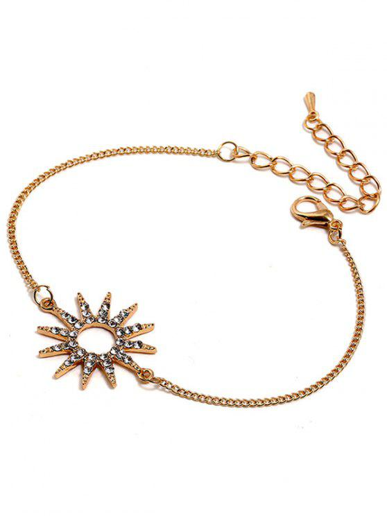 hot Sun Design Rhinestone Chain Bracelet - GOLD
