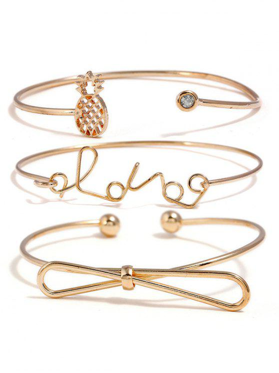 Hohl Ananas Bowknot Liebesbriefe Entworfene Armbänder Set - golden