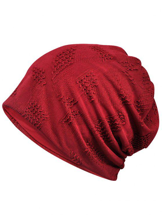 fashion Lightweight Solid Color Breathable Beanie Hat - RED WINE