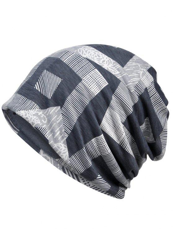 chic Unique Geometric Printed Beanie Hat - GRAY