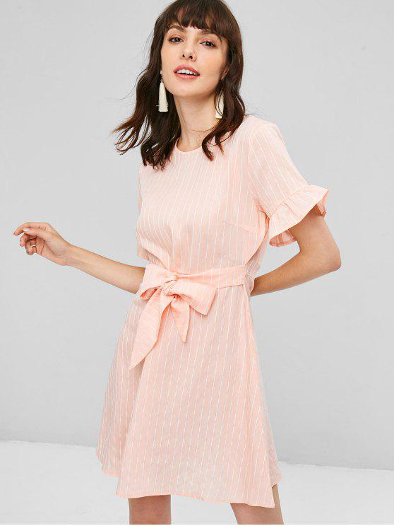 latest Knotted Ruffles Stripes Dress - PINK BUBBLEGUM M