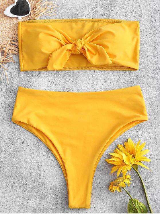 women's High Cut Convertible Bandeau Bikini Set - RUBBER DUCKY YELLOW M