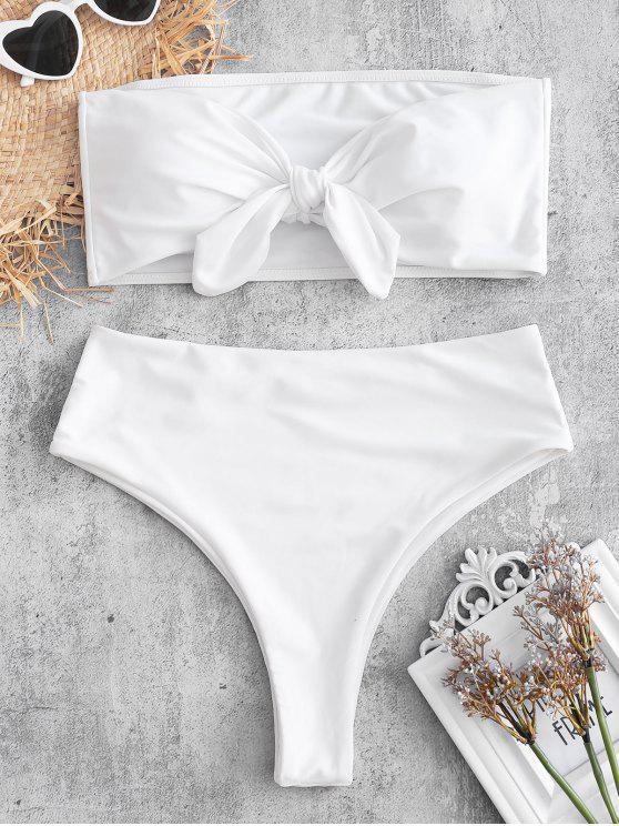 Conjunto de bikini bandeau convertible de corte alto - Blanco L