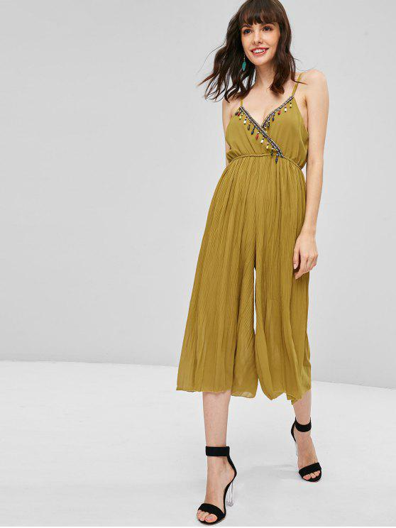 women's Beaded Pleated Wide Leg Jumpsuit - GOLDENROD M