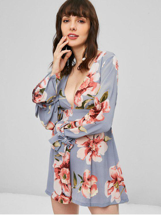 fancy Knotted Floral Low Cut Romper - BLUE GRAY M