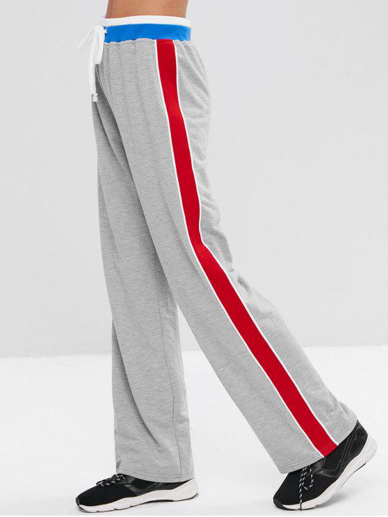 hot Athletic Palazzo Wide Leg Track Pants - LIGHT GRAY M