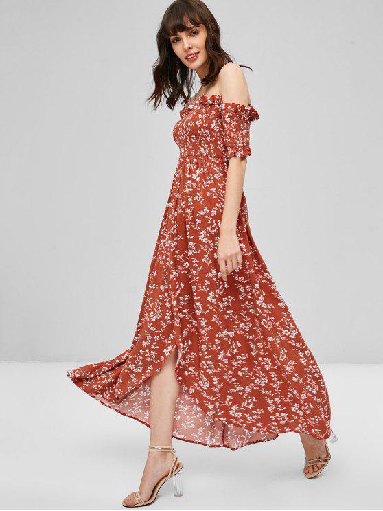 Blumen Smocked Schulterfreies Kleid - Rost L