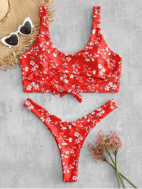 fancy Plus Size Flower Knotted Bikini Set - RED 1X