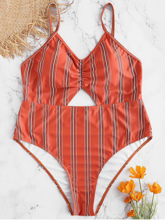 Traje de baño sin espalda a rayas de gran tamaño - Castaño Rojo 2X