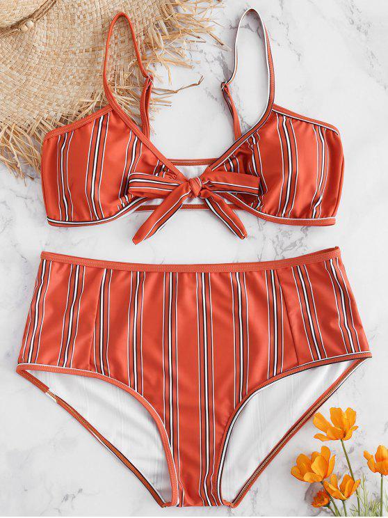 chic Plus Size Striped Bowknot Bikini Set - CHESTNUT RED L