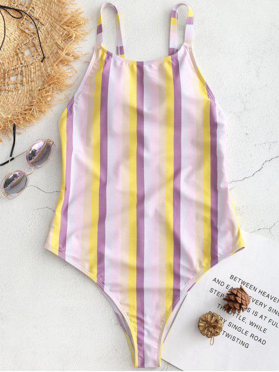 hot Cross Strap Striped High Cut Swimsuit - MULTI L