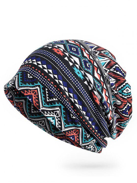 lady Geometric Pattern Open Top Beanie - MIDNIGHT BLUE