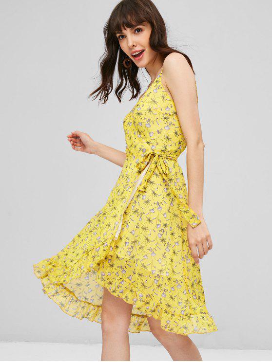 unique Floral Ruffles Wrap Dress - SUN YELLOW M